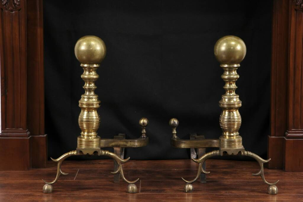 Antique Fireplace Screen >> SOLD - Pair of Brass Cannonball 1890's Antique Fireplace ...