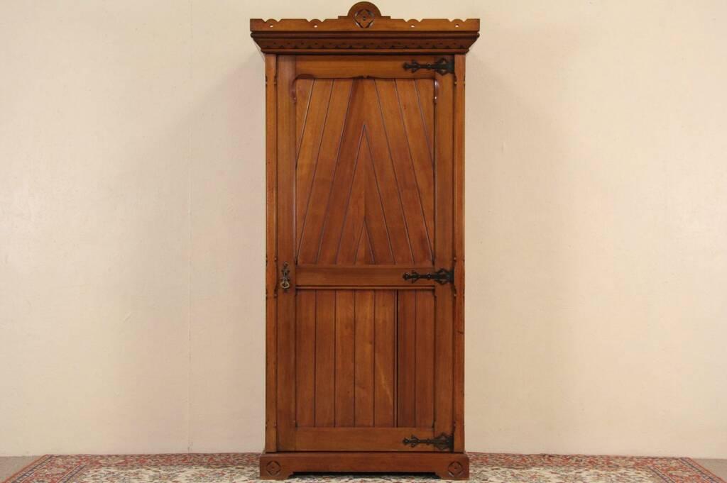 Scottish Signed 1880 Antique Armoire Wardrobe Or Closet
