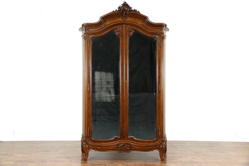 sold french 1900 antique carved walnut armoire wardrobe. Black Bedroom Furniture Sets. Home Design Ideas
