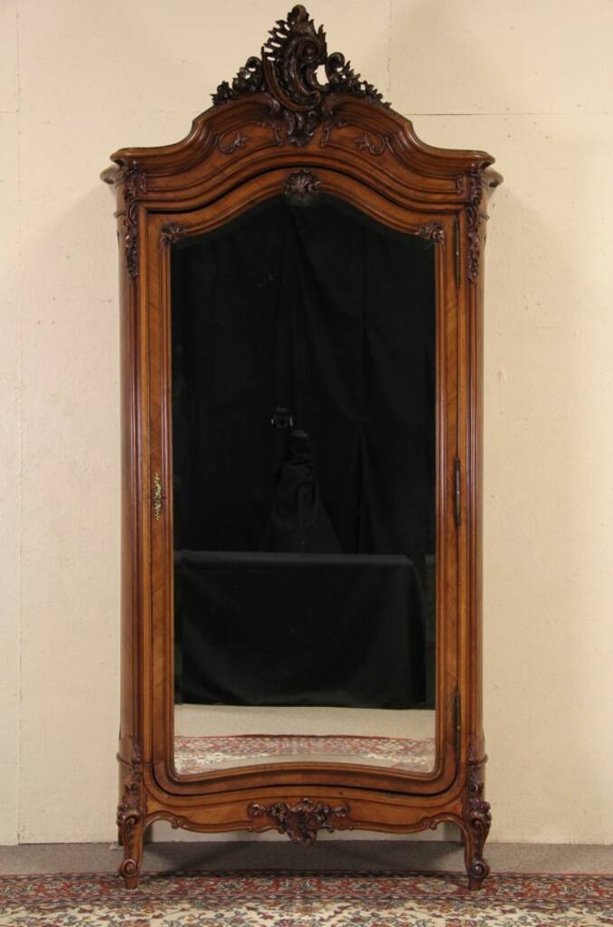 Sold French 1900 Carved Antique Armoire Beveled Mirror Door Harp Gallery Antique Furniture