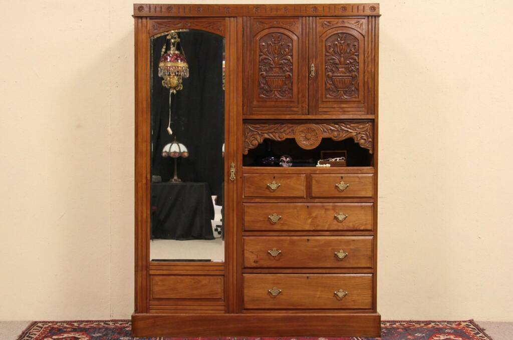Sold Carved 1900 Armoire Linen Chest Amp Dresser