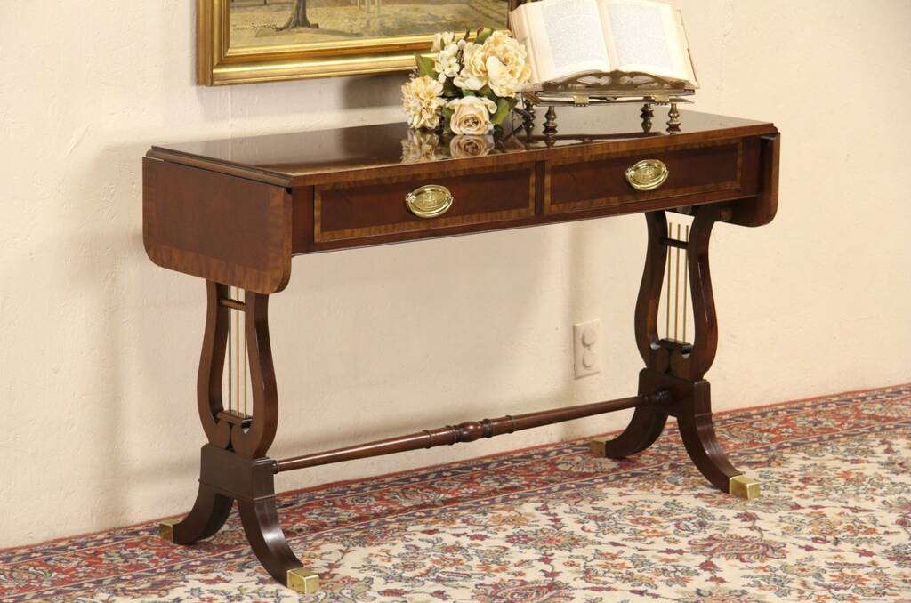 Sold Baker Banded Mahogany Dropleaf Hall Or Sofa Table