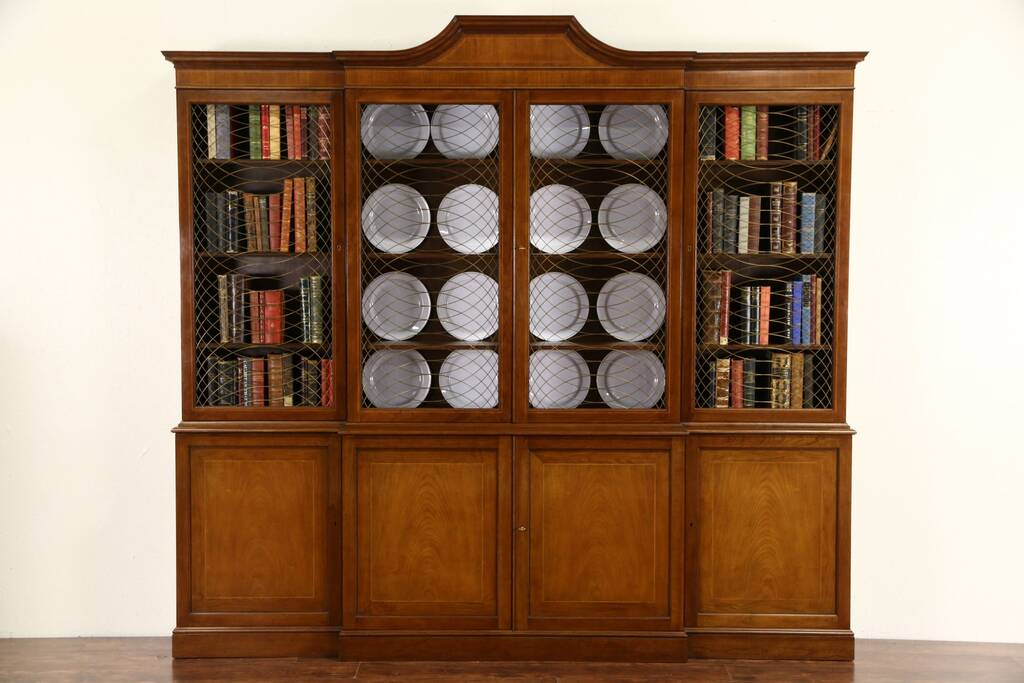 Baker Signed Cherry 8 Vintage Bookcase Or Breakfront China Cabinet Harp Gallery Antique Furniture