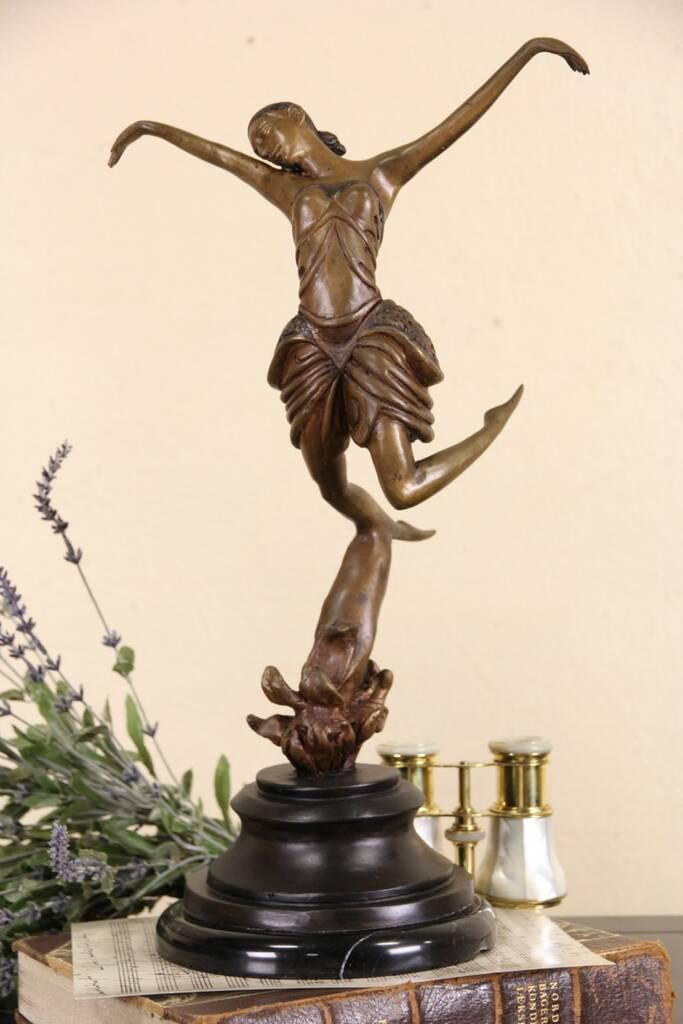 Sold bronze vintage sculpture of a dancer marble base for Asian furniture erina