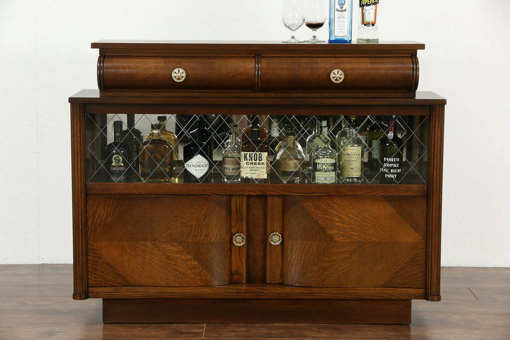 SOLD Art Deco Oak Vintage Scandinavian Sideboard, Bar Cabinet, Etched Glass Doors Harp