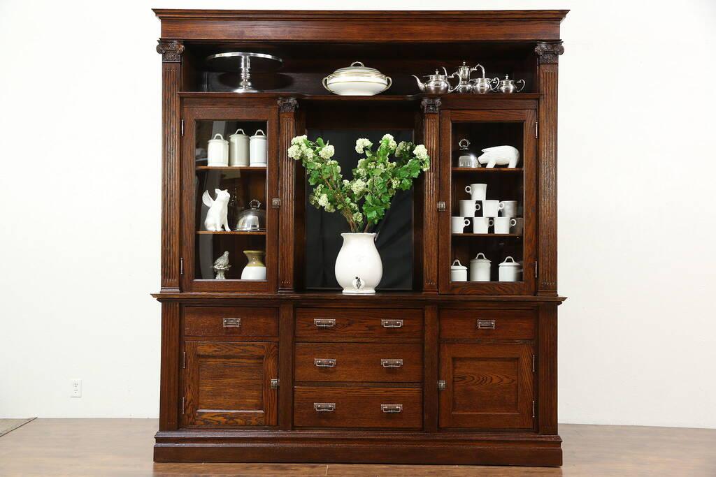 Sold Oak 1900 Antique Back Bar Or China Cabinet