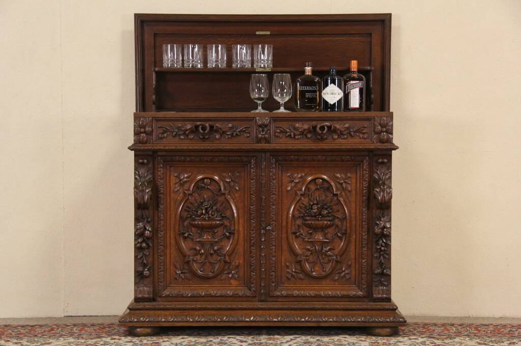 Sold Black Forest Carved Oak 1890 S Console Bar Cabinet