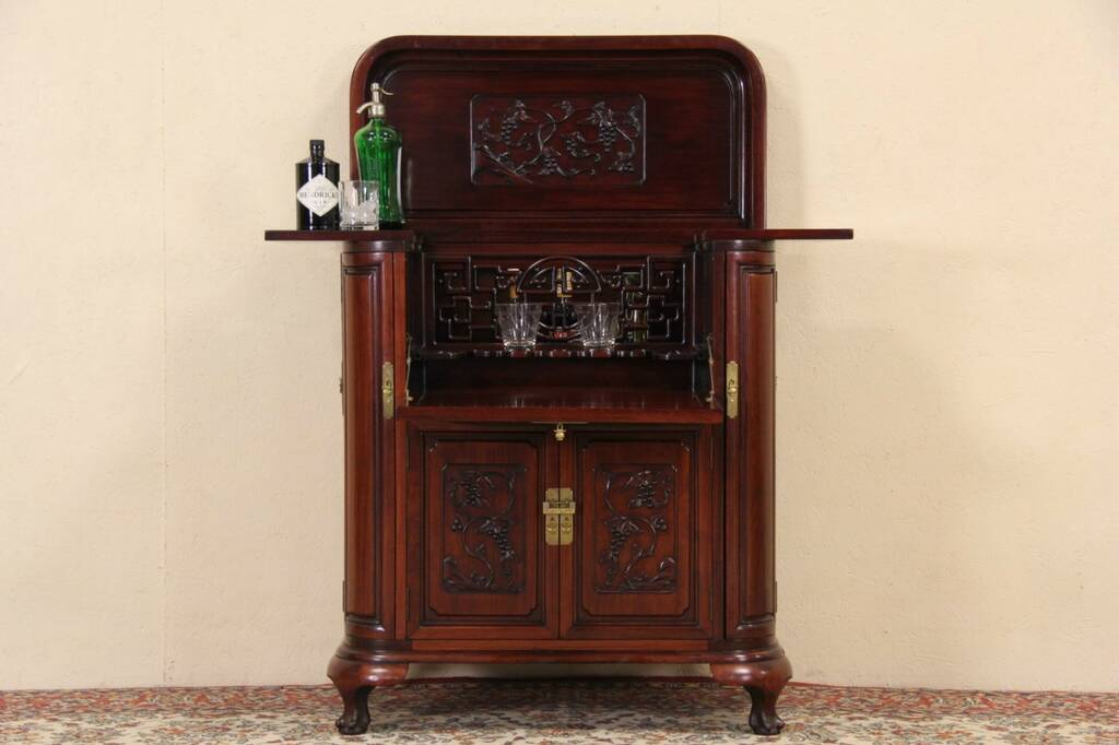 Sold Chinese Carved Mahogany Vintage Bar Liquor Cabinet