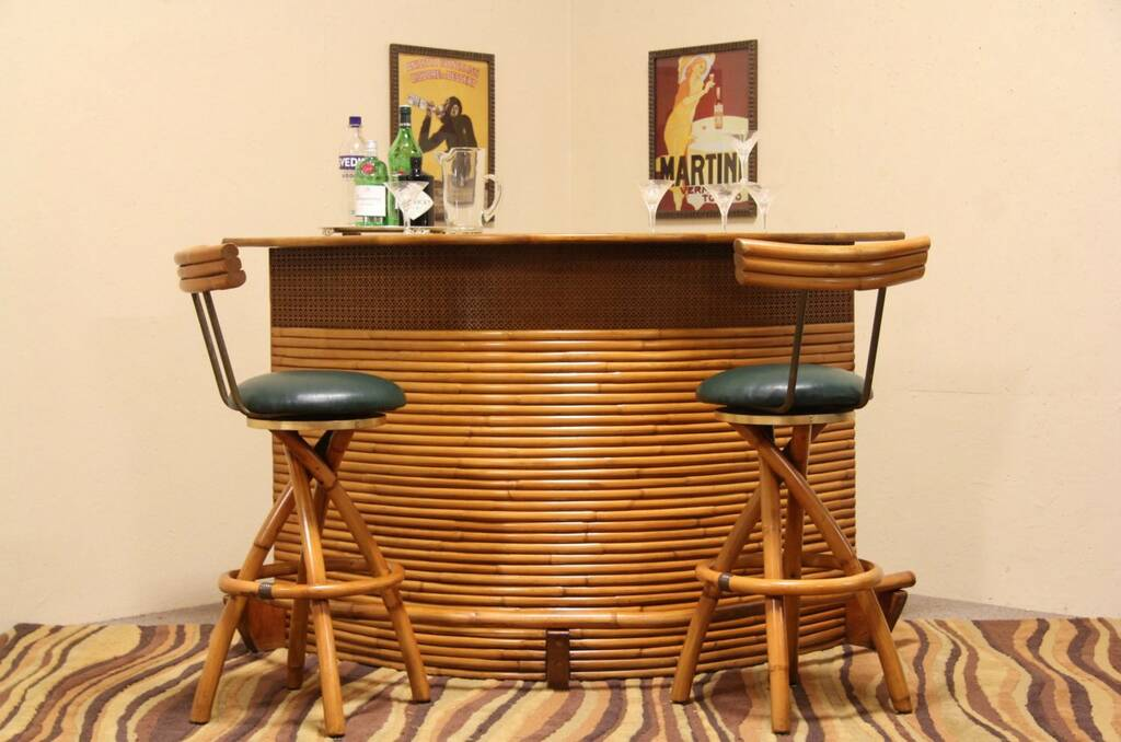 Sold Midcentury Modern Curved 1950 S Vintage Bamboo Bar