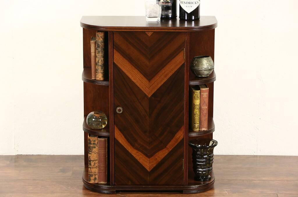 sold art deco 1930 39 s vintage bar cabinet inlaid banding harp gallery antique furniture. Black Bedroom Furniture Sets. Home Design Ideas
