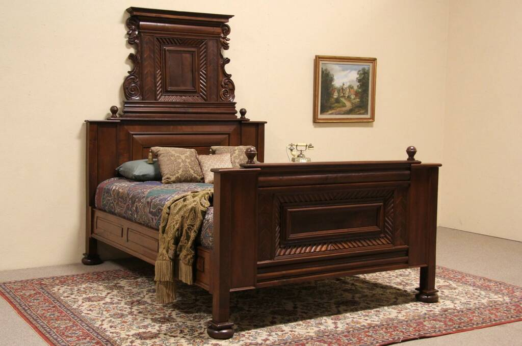 Swiss 1800 39 s antique queen size bed carved gnomes ebay for 1800 beds