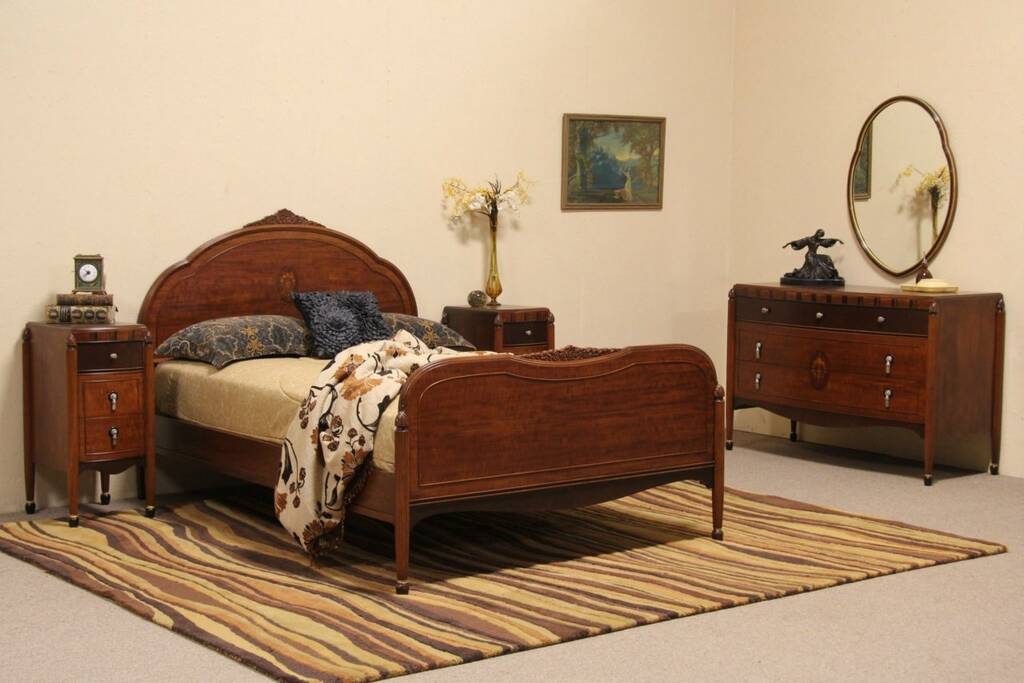 French Art Deco 5 Pc 1930 Antique Bedroom Set Ebay