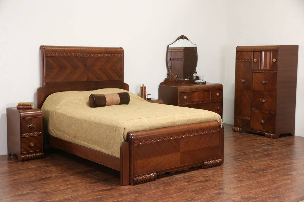 Sold Art Deco 1935 Vintage Queen Size Waterfall 5 Pc Bedroom Set With Nightstands Harp