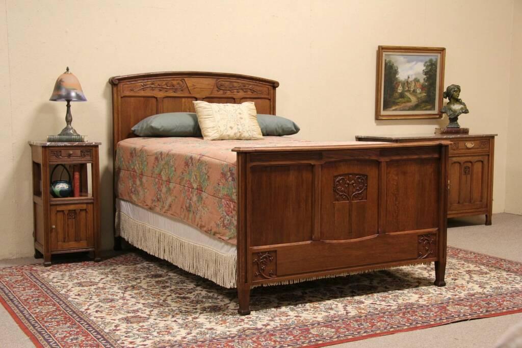 sold carved oak 1900 antique 3 pc full size bedroom set marble