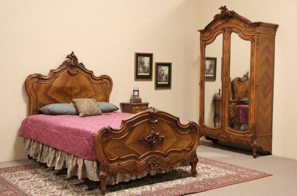 sold carved french 1900 bedroom set queen size bed