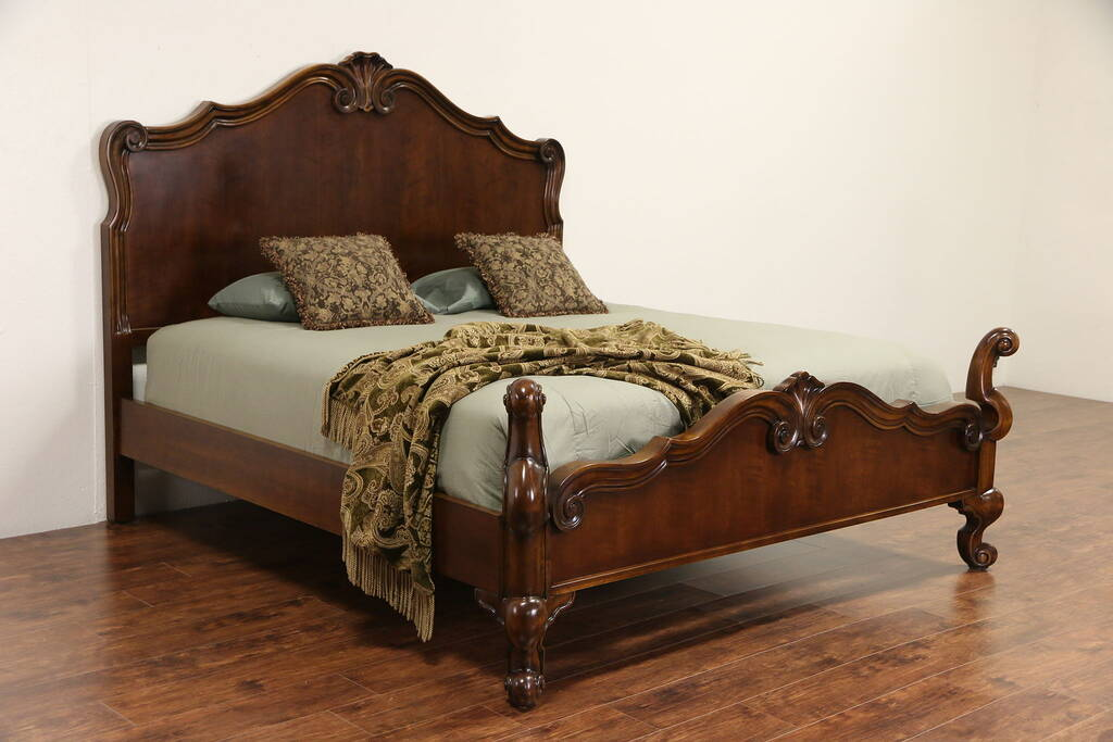 Sold Cherry Carved Vintage King Size Bed Harp Gallery