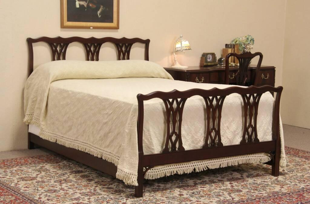 sold kindel georgian style full size 1950 39 s vintage mahogany bed harp gallery antique furniture. Black Bedroom Furniture Sets. Home Design Ideas