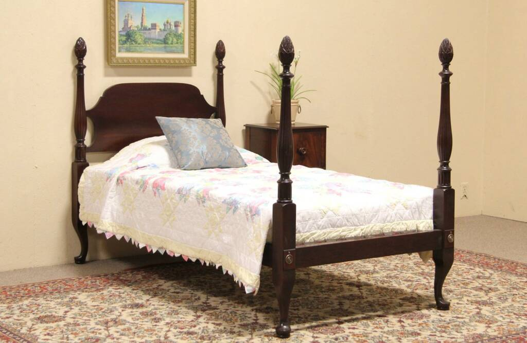 Sold Pineapple 4 Poster Twin Size 1925 Mahogany Bed