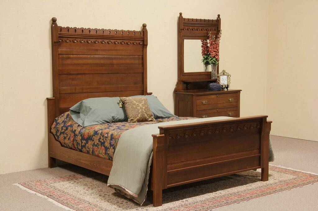 antique oak queen size bedroom set harp gallery antique furniture
