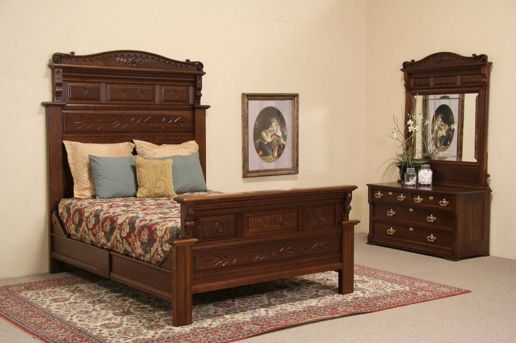 queen size 1880 antique eastlake carved cherry bedroom set