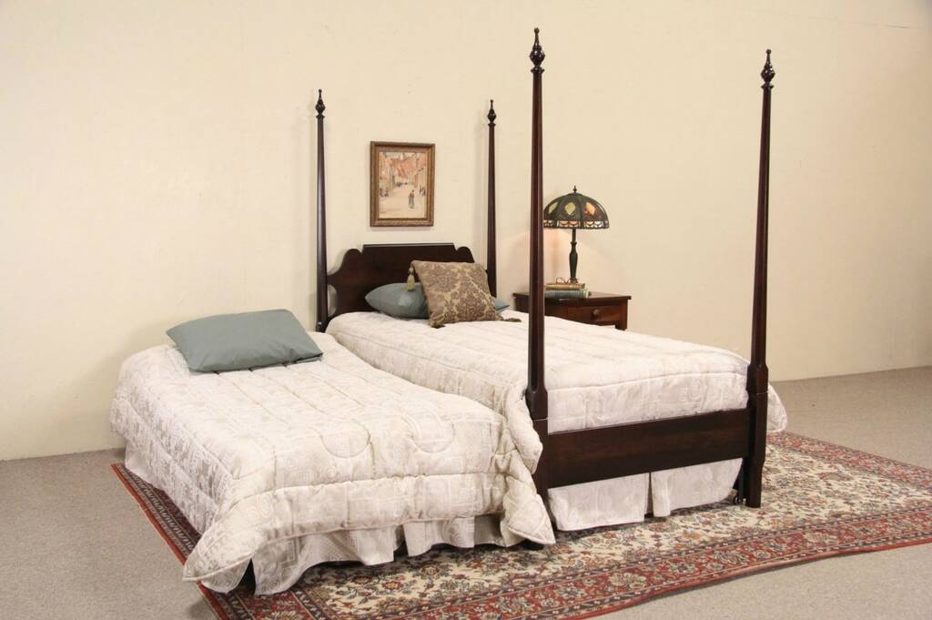 Sold Cherry Twin Poster Vintage Bed Pull Out Trundle