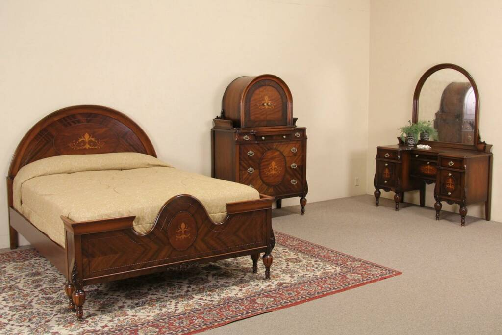 Marquetry 1920 39 s full size antique bedroom set 3 pc ebay - Vintage bedroom set ...