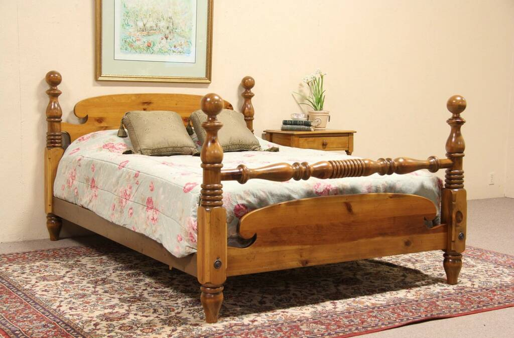 Sold Ethan Allen Country Pine Queen Size Vintage Bed Harp Gallery Antique Furniture