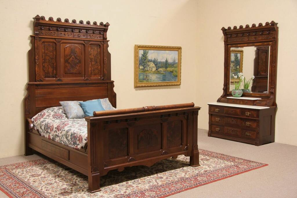 sold victorian eastlake queen size 1875 bedroom set bed