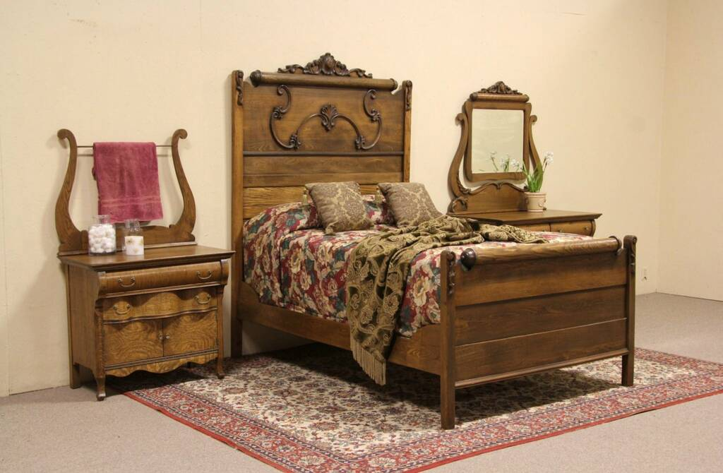 Oak Victorian 1900 Antique 3 Pc Bedroom Set Full Size Bed Ebay