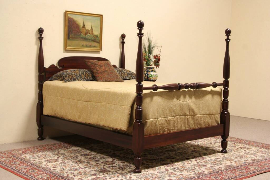 Sold Mahogany 1910 Antique Full Or Double Size Poster Bed Harp Gallery Antique