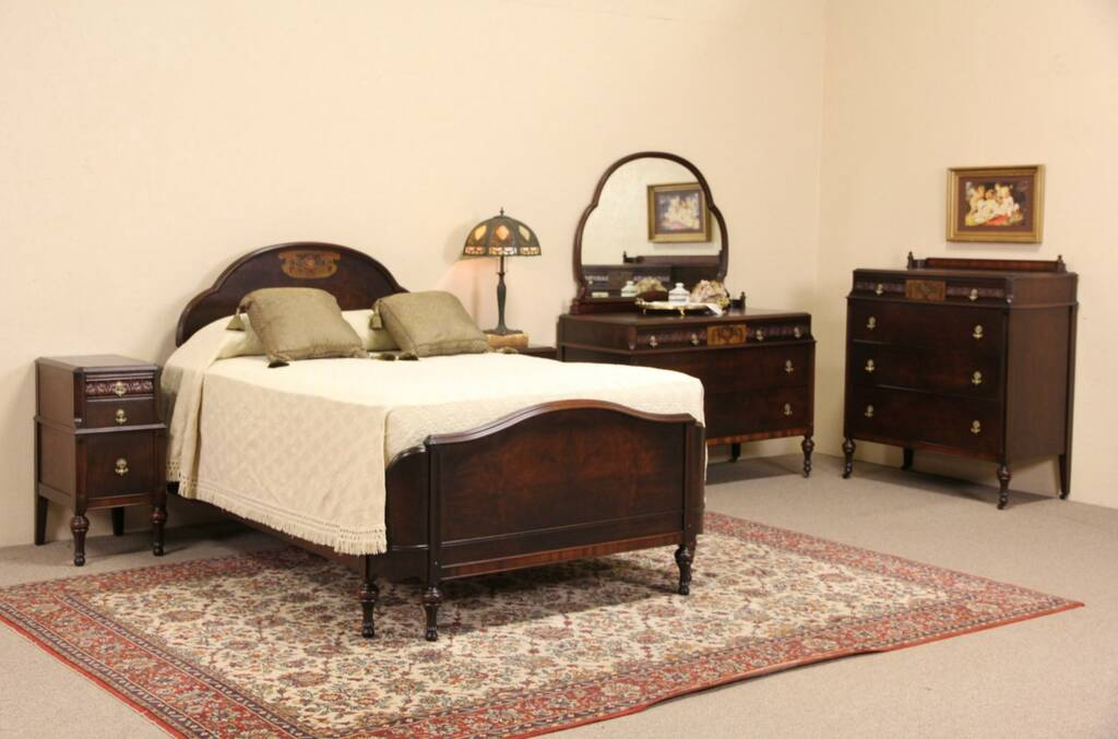 Sold Hand Painted Amp Walnut 1920 Antique 5 Pc Bedroom Set Full Size Bed Harp Gallery
