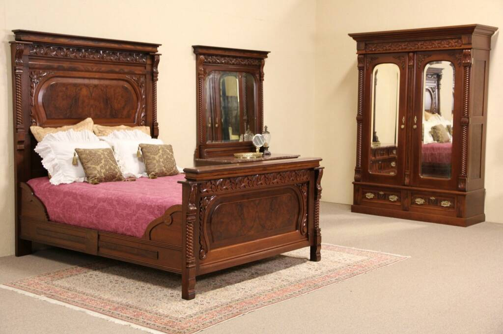 Sold Victorian Eastlake Queen Size Bedroom Set Armoire Marble Top Dresser Harp Gallery
