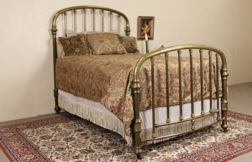 Sold Brass Bed Full Size 1900 Antique Arched Amp Curved Harp Gallery Antique Furniture
