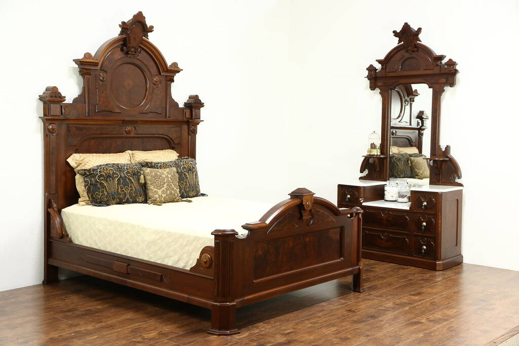 Sold Victorian Renaissance Antique Walnut 2 Pc Bedroom