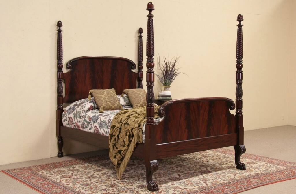 Empire antique carved mahogany full size poster bed