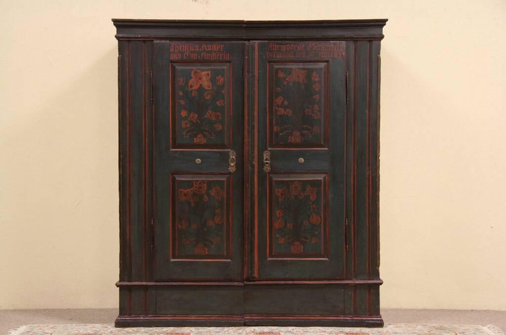 Sold german antique wedding schrank or armoire 1839 for Schrank english