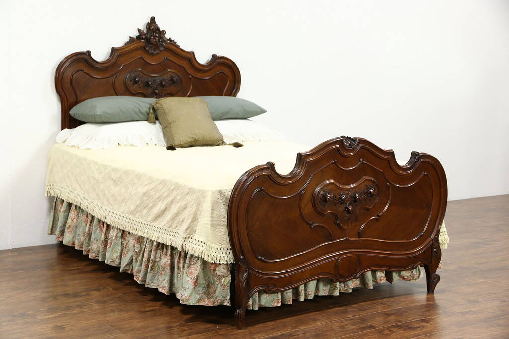 Sold French Queen Size 1900 Antique Walnut Bed Carved