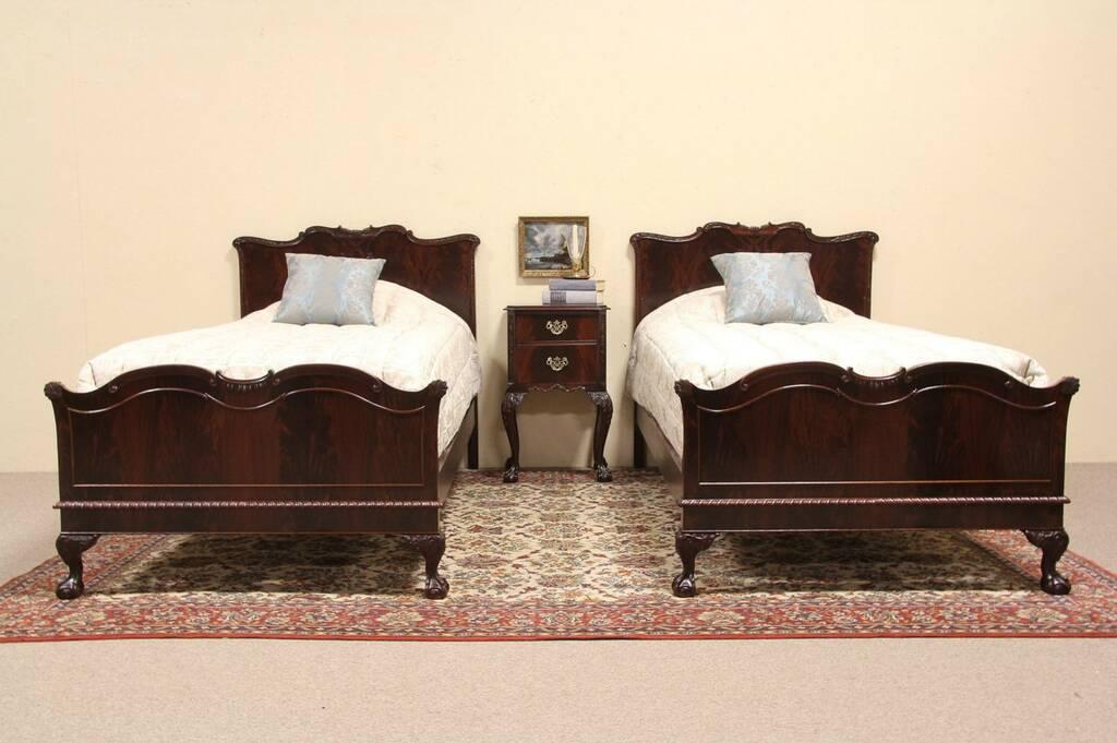 bedroom set twin beds nightstand harp gallery antique furniture