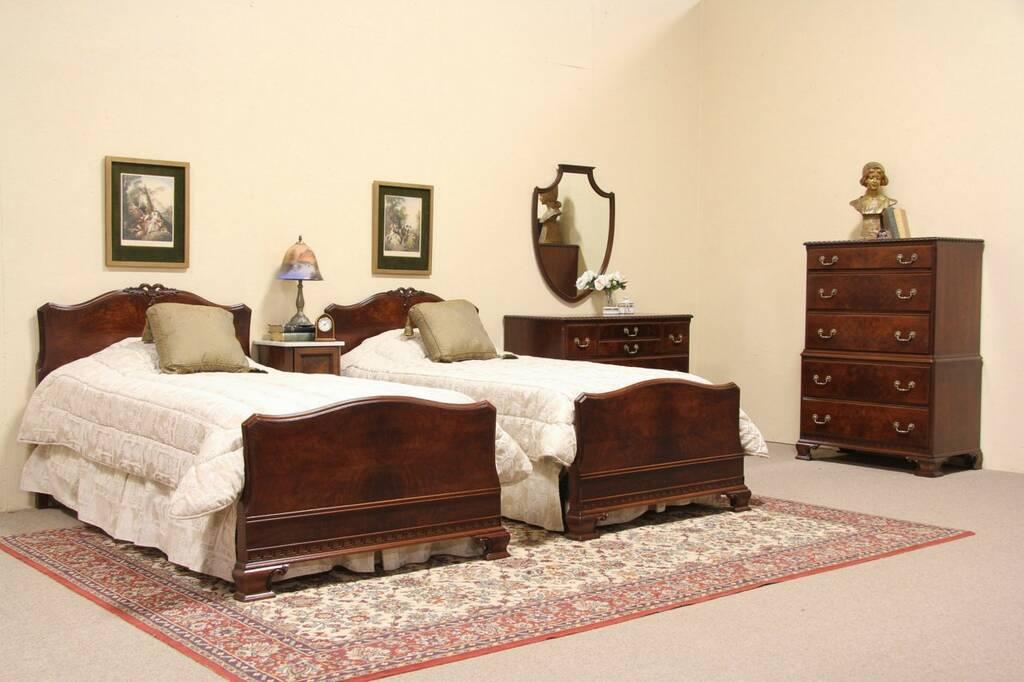 sold georgian 1940 39 s vintage 3 pc bedroom set harp gallery antique furniture. Black Bedroom Furniture Sets. Home Design Ideas