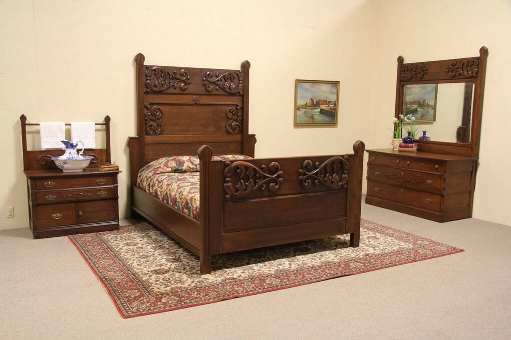 Sold Oak Antique 1890 Queen Size 3 Pc Carved Bedroom