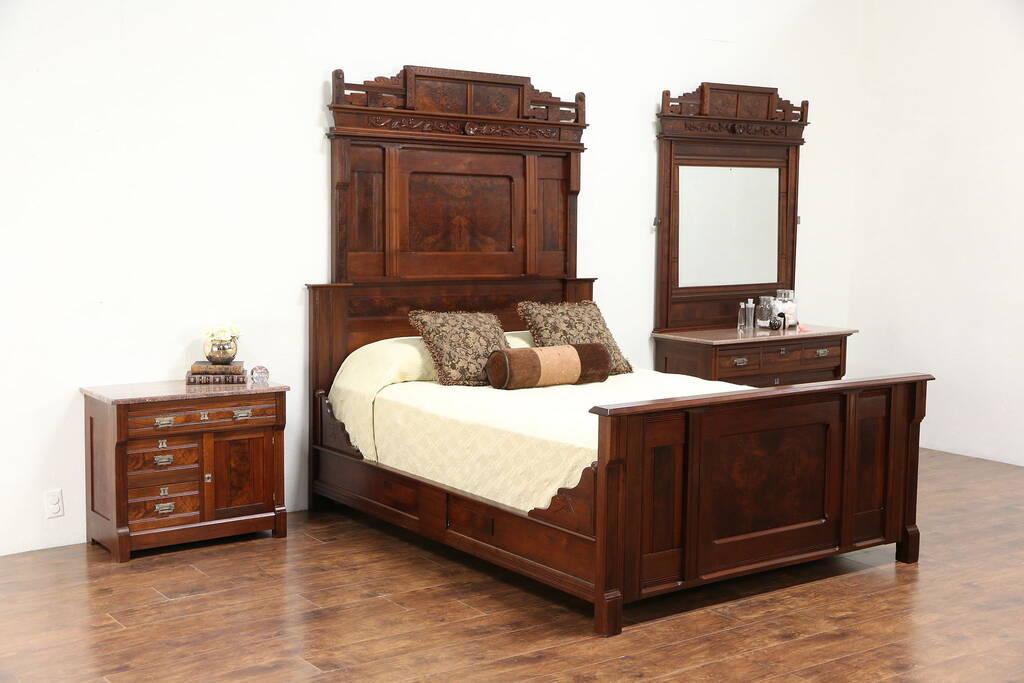 Victorian Eastlake Antique 3 Pc Queen Size Walnut Bedroom