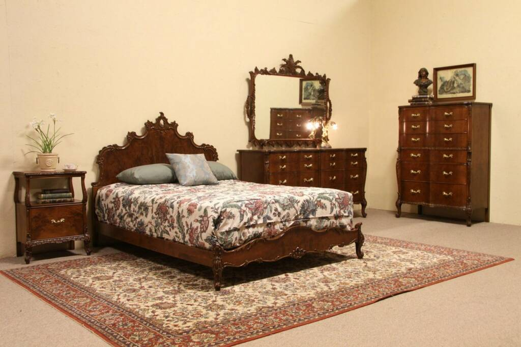 Sold Bedroom Set 1935 Carved Acacia 4 Pc Full Size Bed