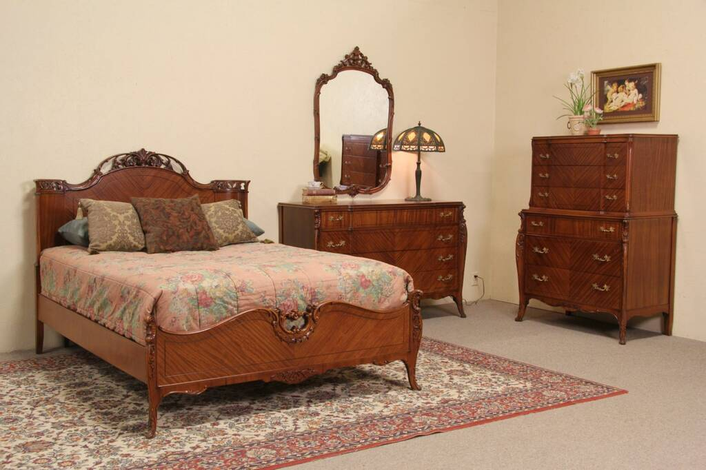 French style 1940 39 s vintage joerns 4 pc full size bedroom set Vintage looking bedroom furniture