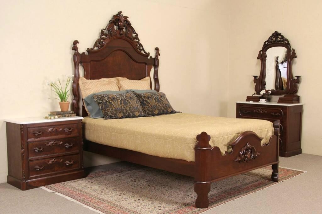 Sold Victorian 1860 S Antique Queen Size 3 Pc Bedroom