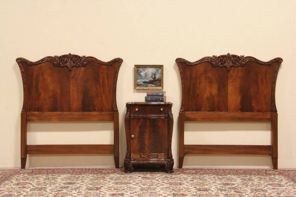 SOLD Georgian Bedroom Set Pair Twin Headboards Nightstand Harp