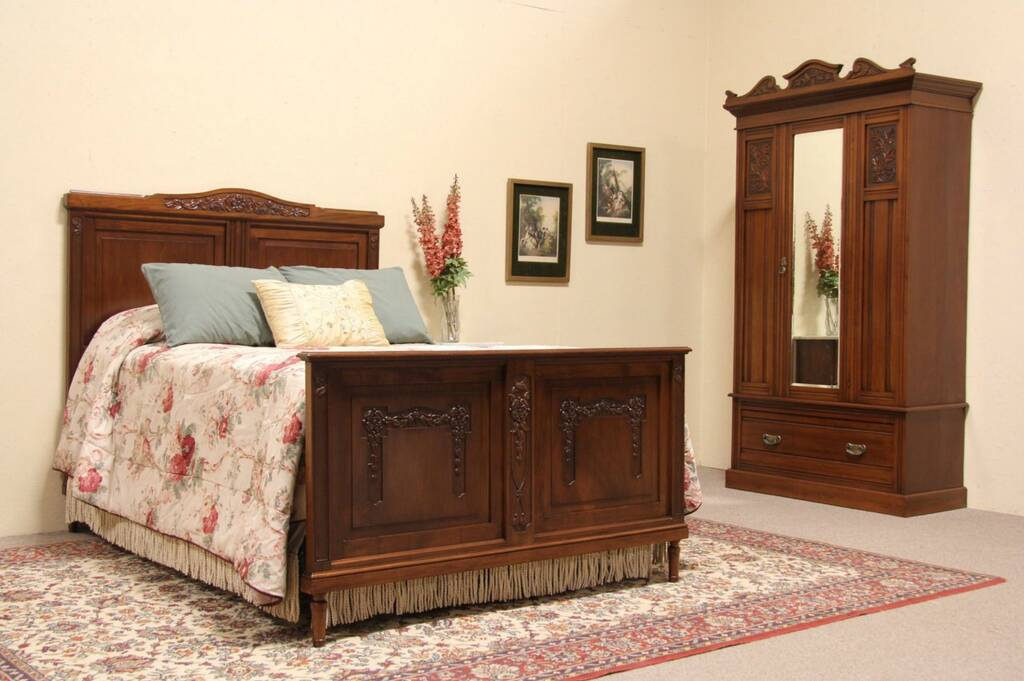 Sold Bedroom Set 1910 Antique Armoire Or Wardrobe Amp Full