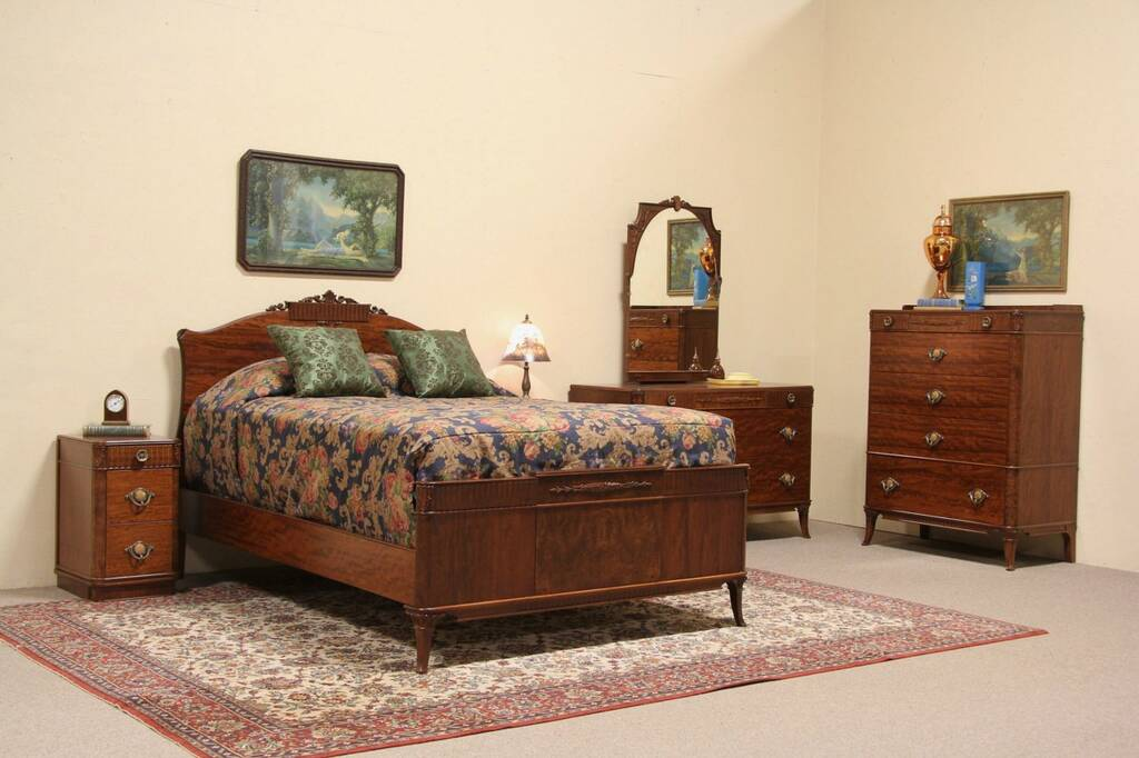 Sold French Art Deco Design 1930 S Full Size Bedroom Set Harp Gallery Antique Furniture
