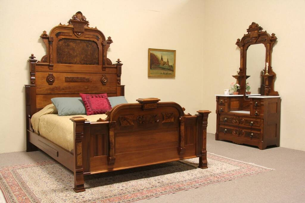 SOLD Victorian Renaissance 1875 Queen Size Bedroom Set Marble Tops Harp