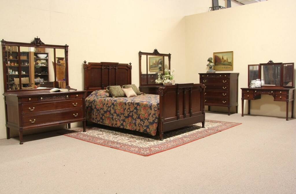 Carved mahogany 5 pc 1910 queen size bedroom set ebay for Mahogany bedroom furniture