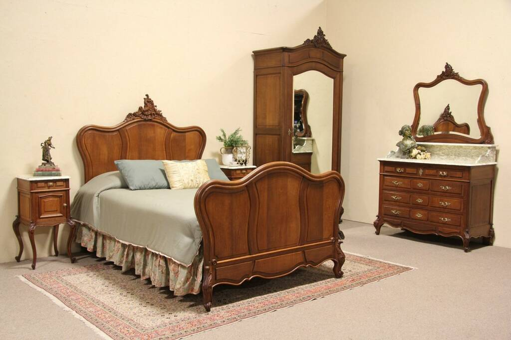 Sold country french 1895 antique carved oak queen size for Country bedroom furniture